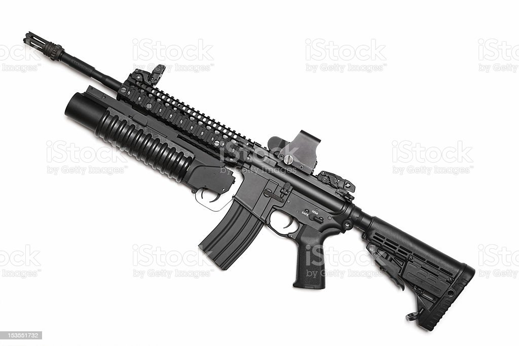 US Spec Ops M4A1 assault rifle with grenade launcher stock photo