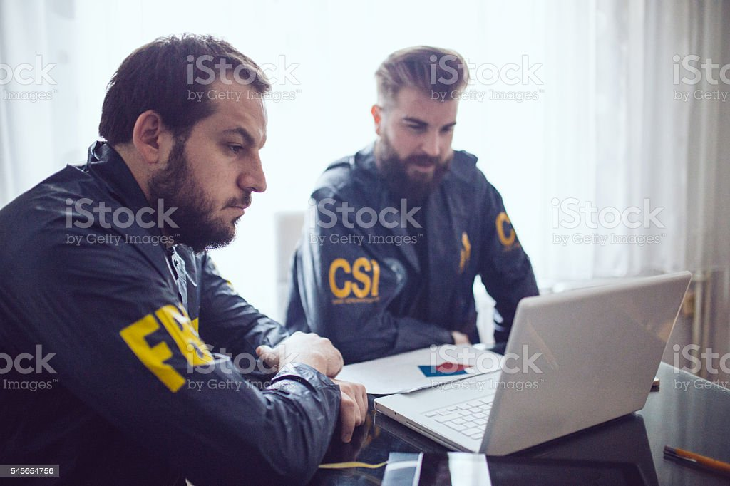 Special agents in office stock photo