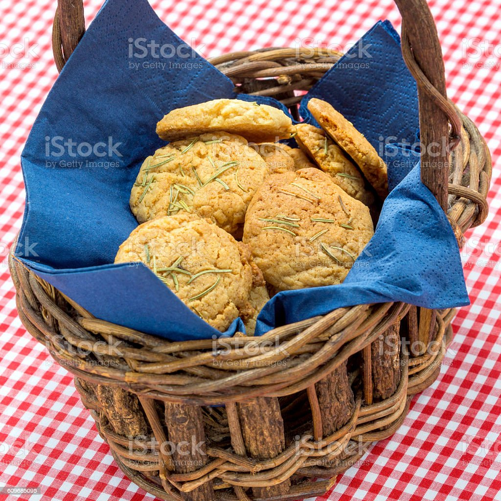 Special biscuits cake in wooden basket with tablecloth stock photo