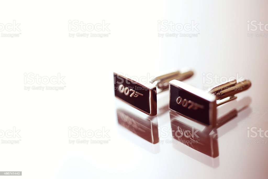 Special buttons for the groom with Agent 007 stock photo