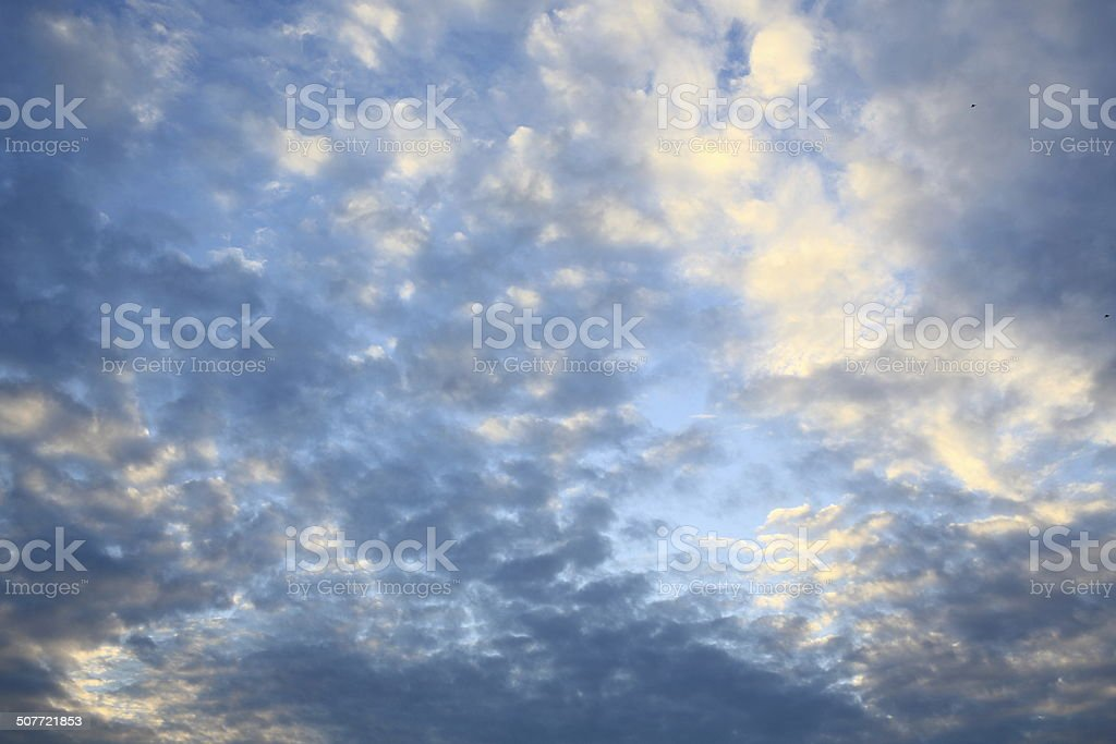 special Cirrocumulus cloud in evening sky stock photo