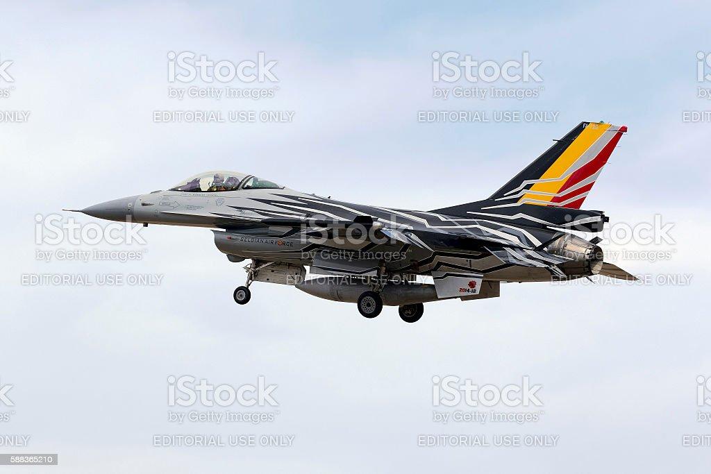 Special Color Scheme Belgian F-16 landing. stock photo