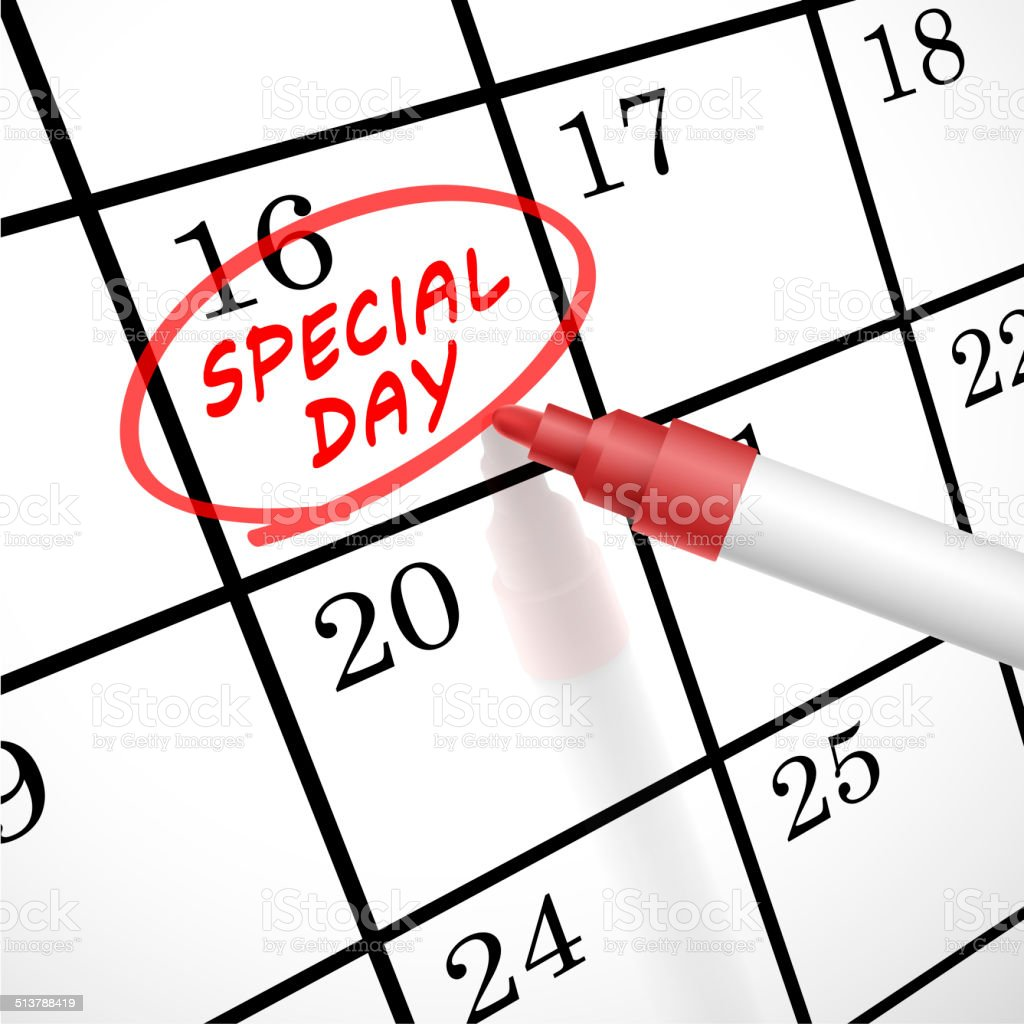special day words circle marked on a calendar stock photo