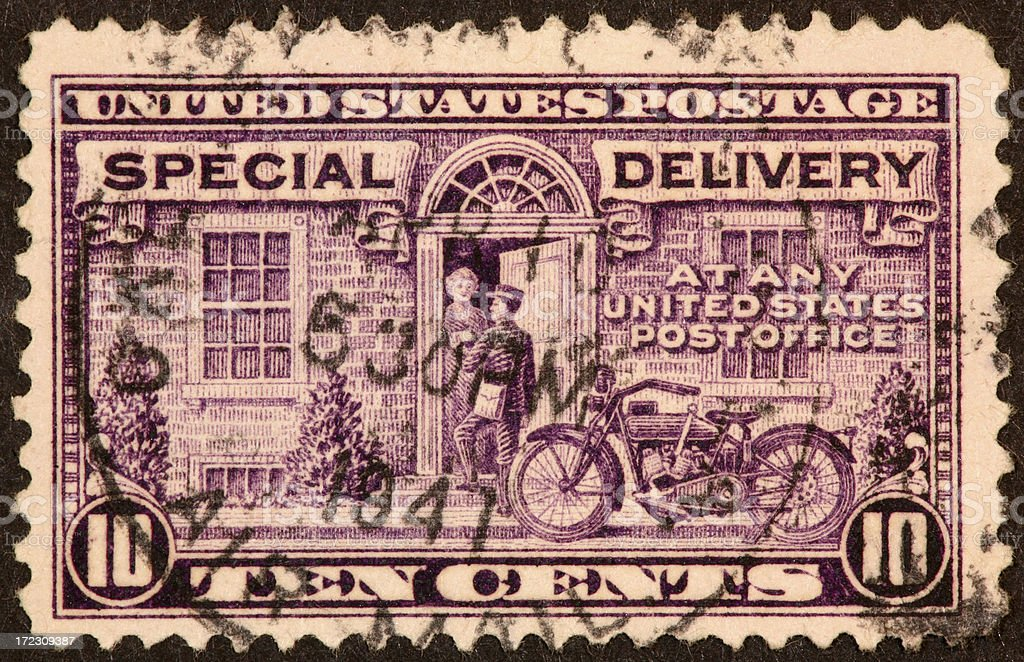 special delivery stamp stock photo