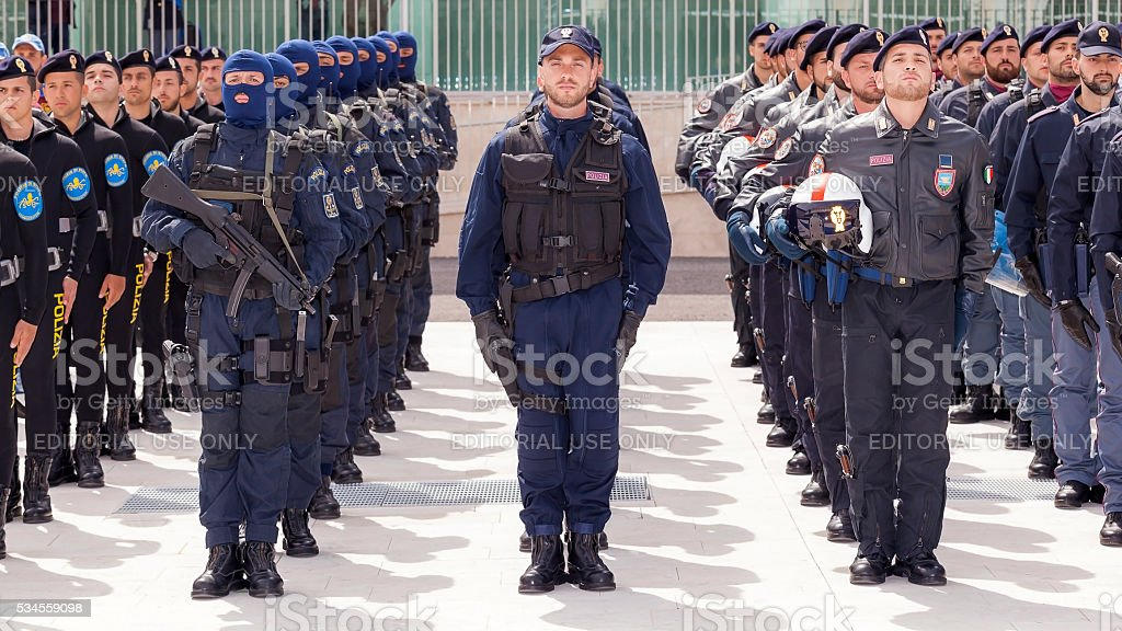 Special departments of the Italian police stock photo