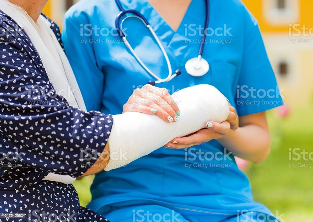 Special doctor's help the elderly too stock photo
