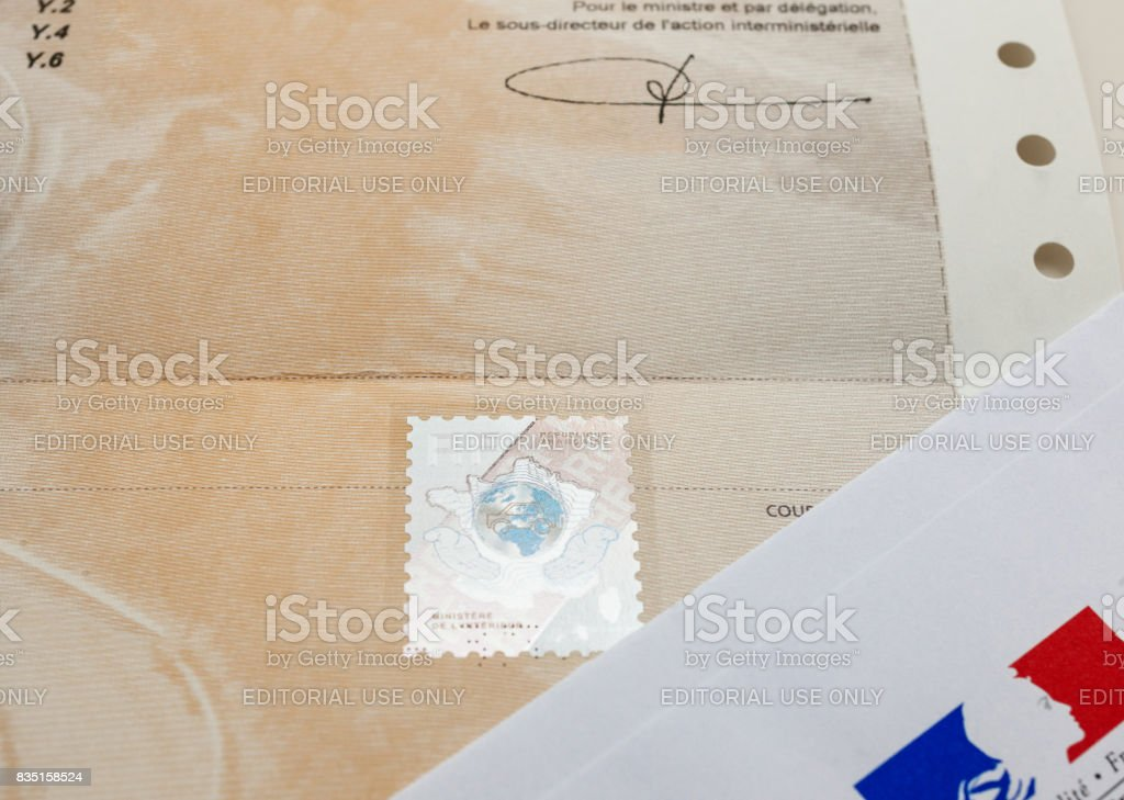 Special document with the holographic stamp and Ministry of Interior envelope stock photo