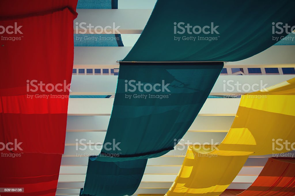 Special Event Tent,  Mutlicolored Canopy Pavilion and Bright Banners stock photo
