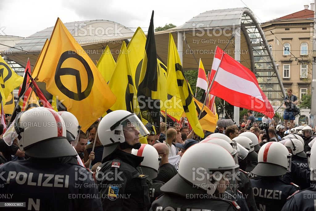 Special forces of the Austrian police against demonstrators stock photo