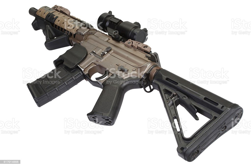 M4 special forces rifle isolated on a white background stock photo