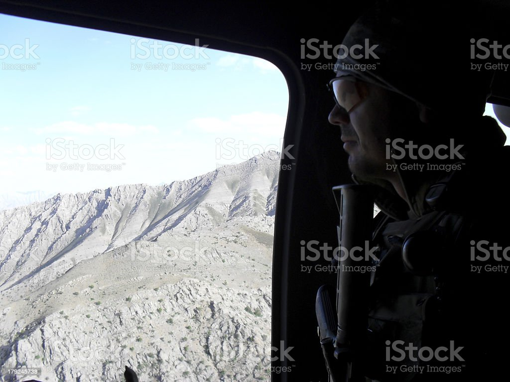 Special forces soldier in Black hawk stock photo