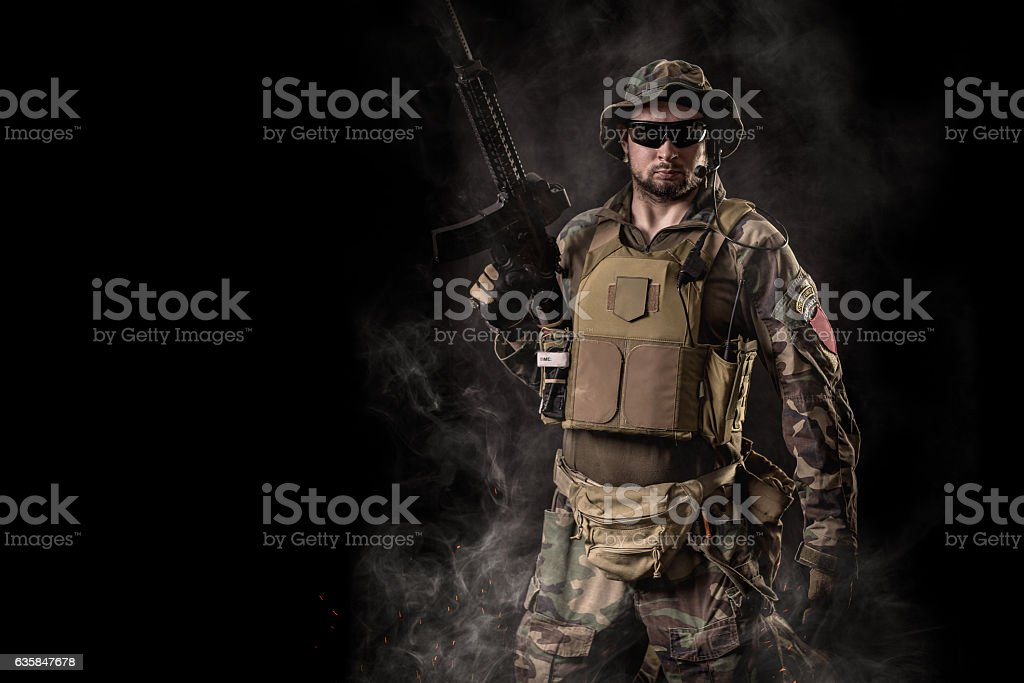 Special Forces soldier with rifle stock photo