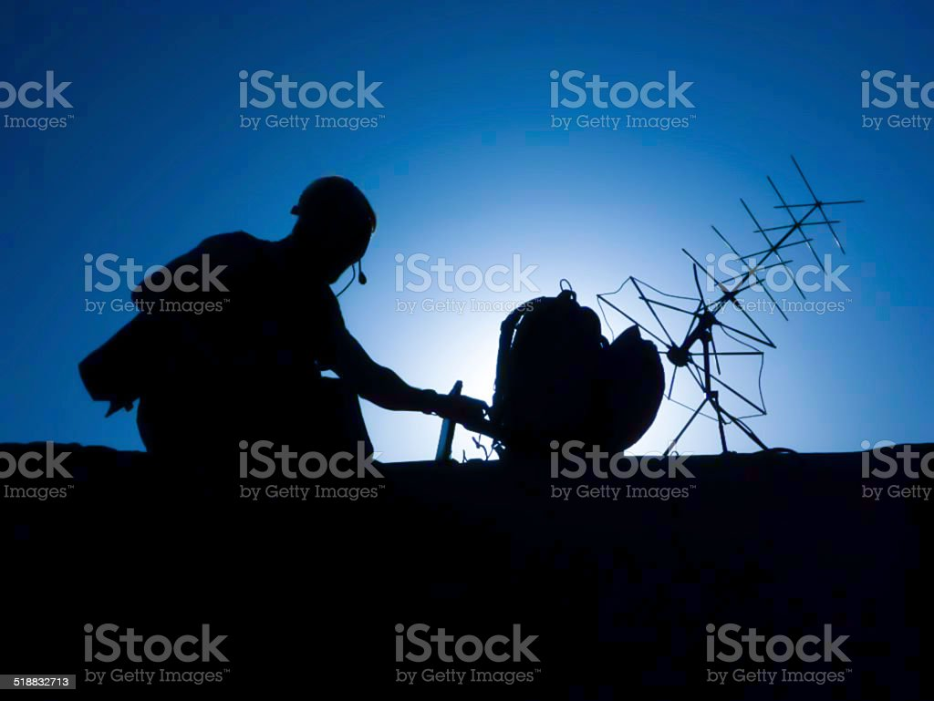 Special Forces soldier with satellite radio equipment stock photo