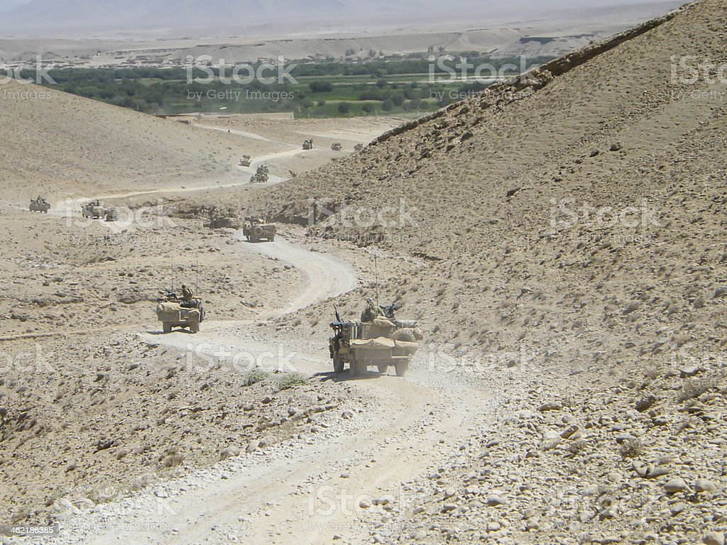 Special Forces vehicle convoy Afganistan stock photo