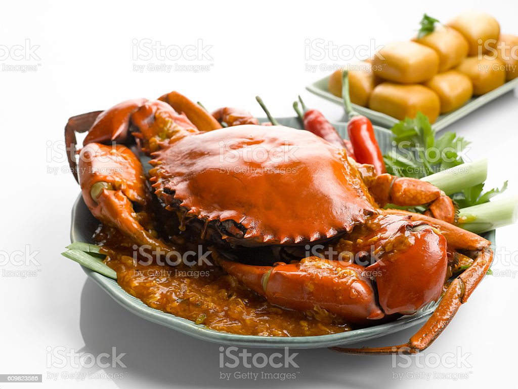 Special fried crab with chili sauce and fried dumplings on stock photo