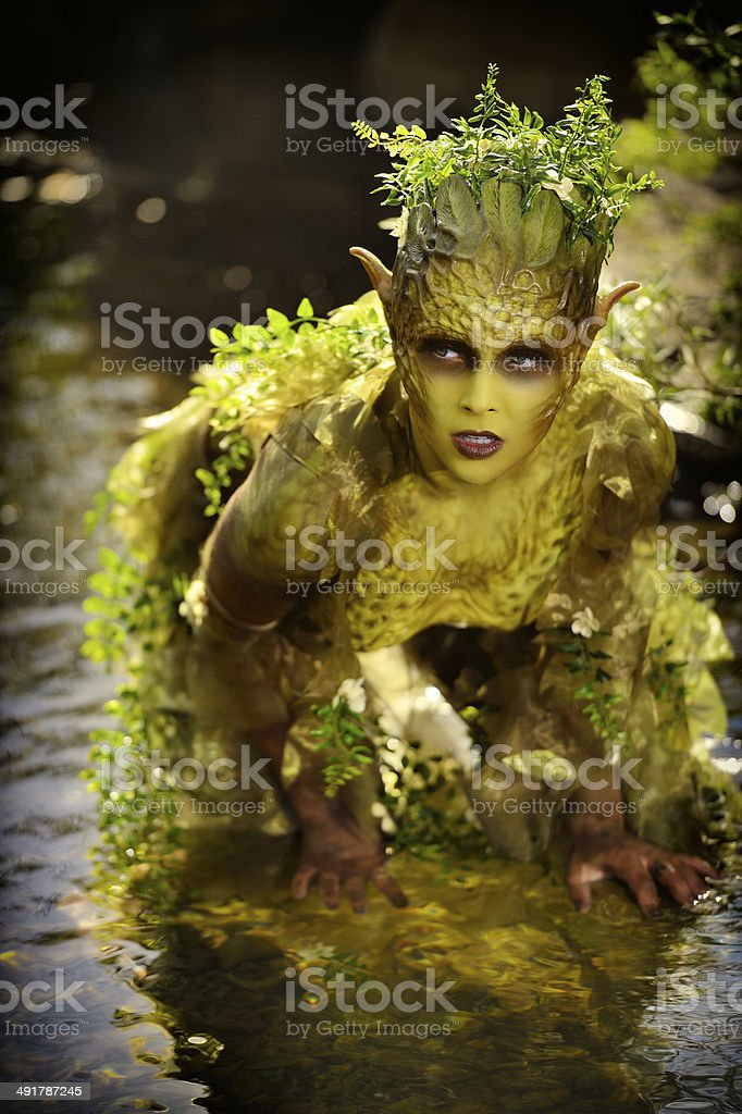 Special FX Makeup  'Mother Nature'  Outdoors In a Stream stock photo