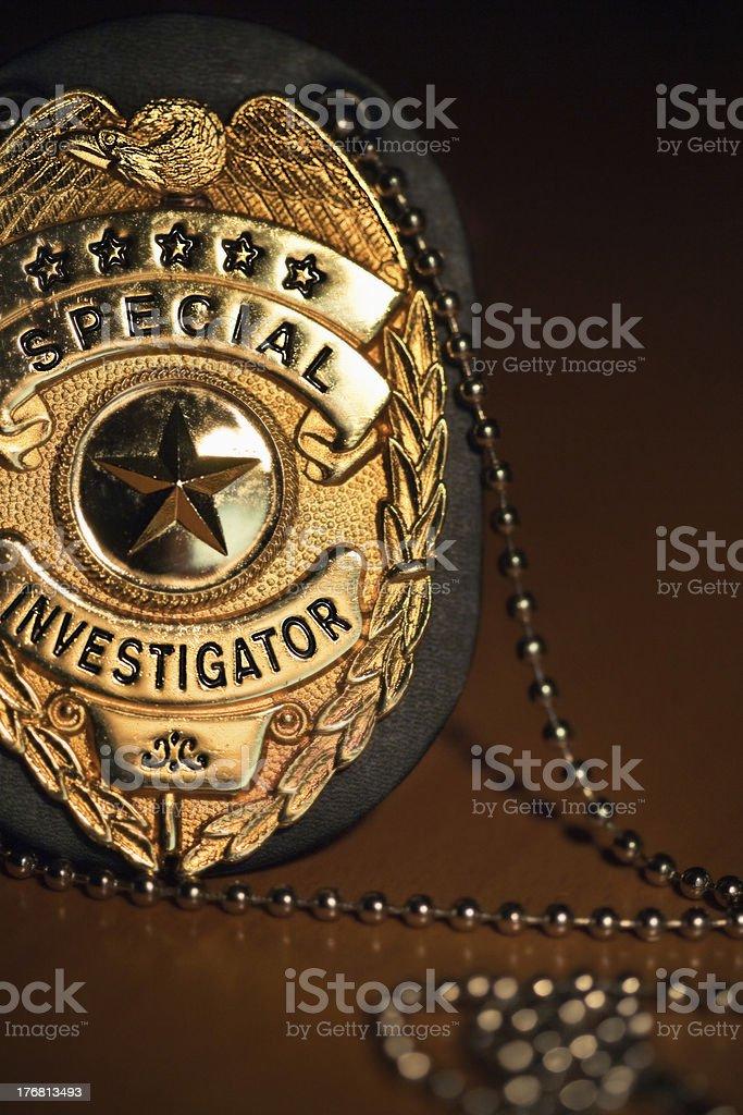 Special Investigator Brass Badge stock photo