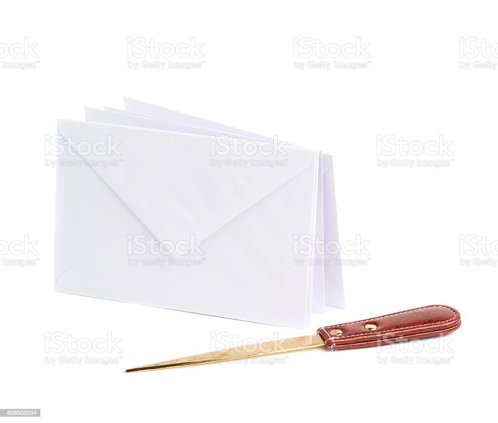 Special knife next to pile of envelopes stock photo