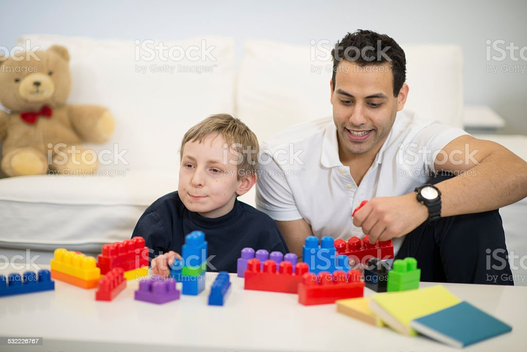 Special Needs and Vulunteer stock photo