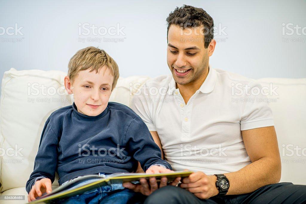 Special Needs with Volunteer stock photo