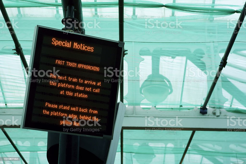 Special notices: fast train approaching stock photo