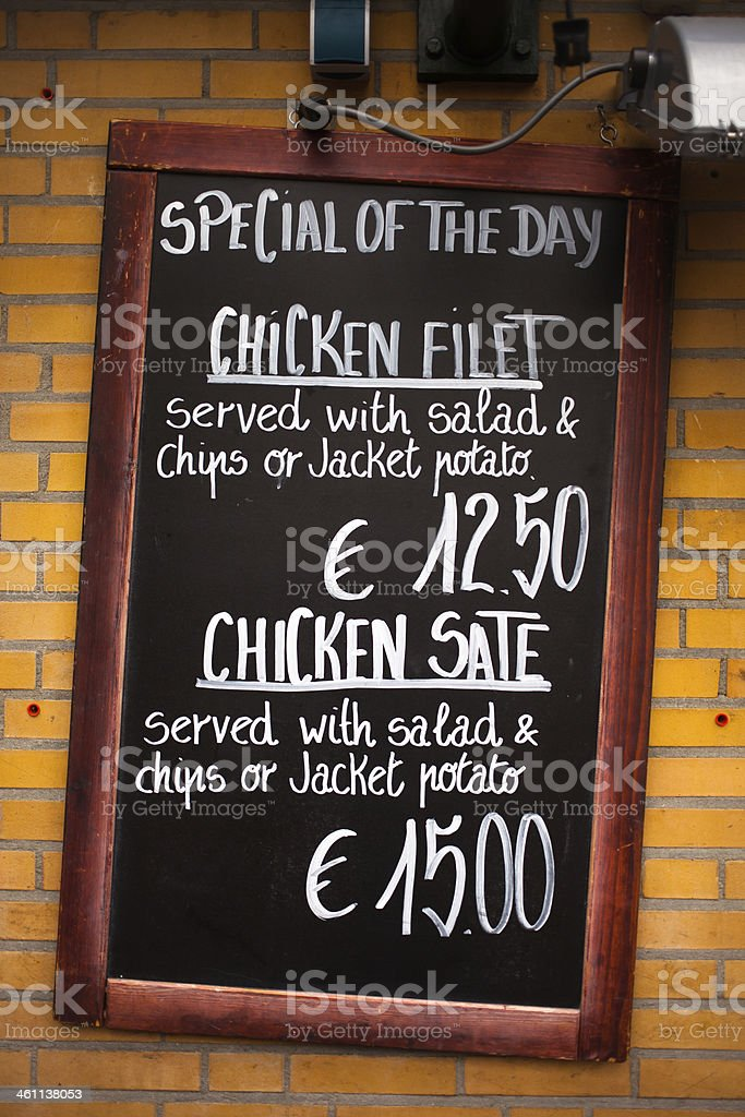 Special of The Day Menu on French Restaurant stock photo
