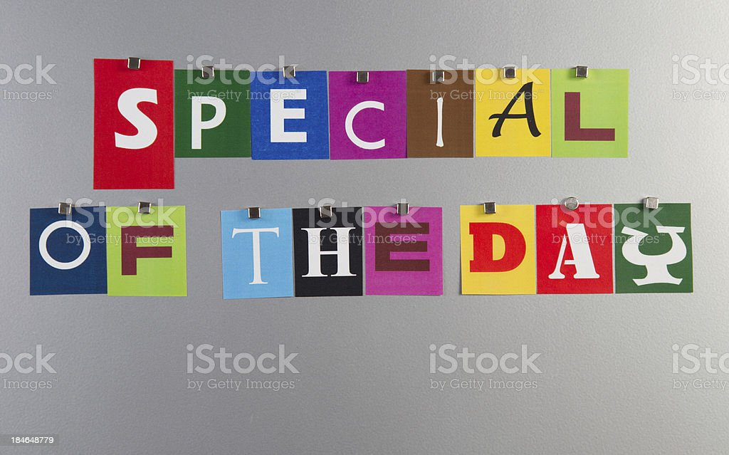 Special of the day pinned on a metal pin board royalty-free stock photo