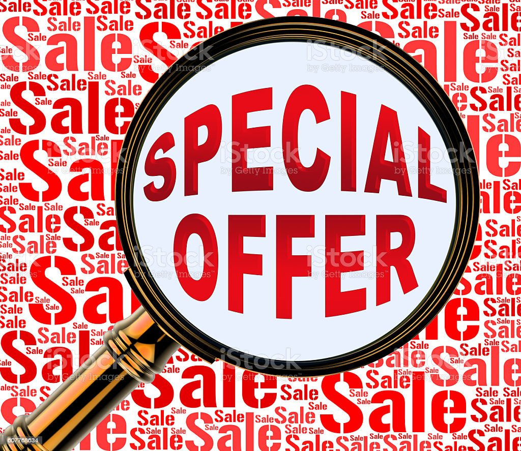 Special Offer Represents Clearance Noteworthy And Save stock photo