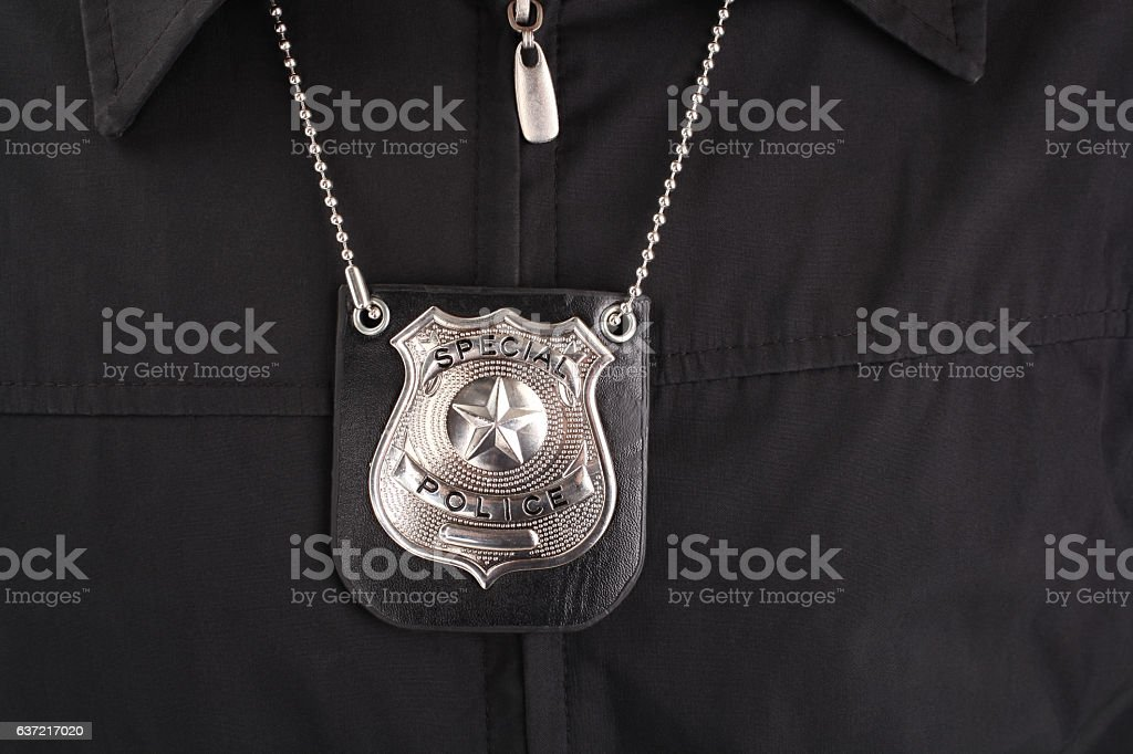 Special officer badge hanging on necklace stock photo