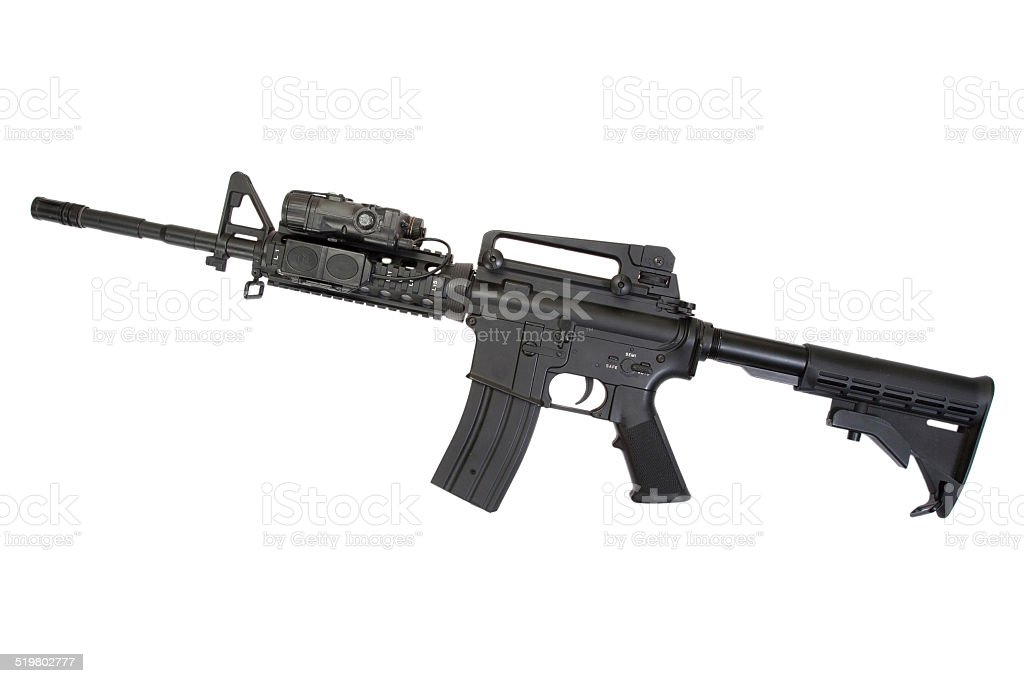 special operation carbine on white background stock photo