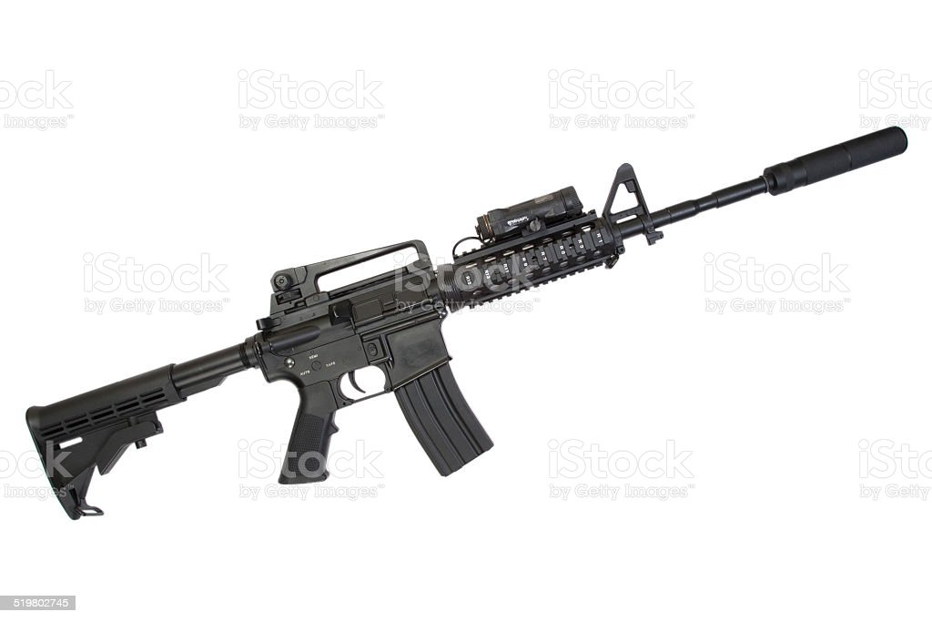 special operation carbine with silencer on white background stock photo