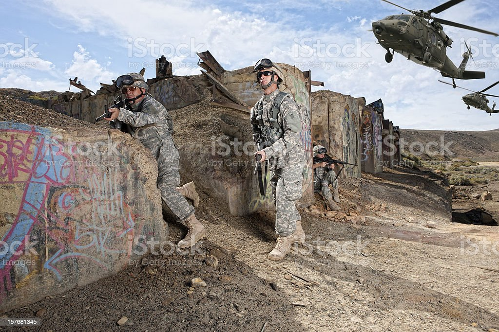 Special ops military soldier taking positions royalty-free stock photo