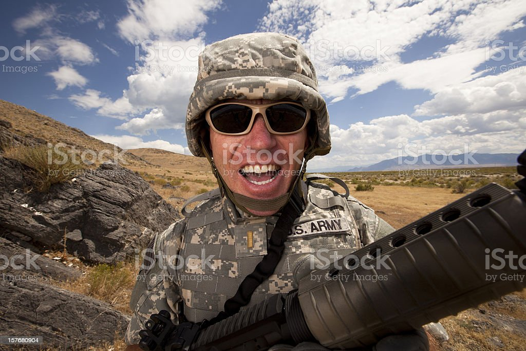 Special ops military soldier yelling royalty-free stock photo