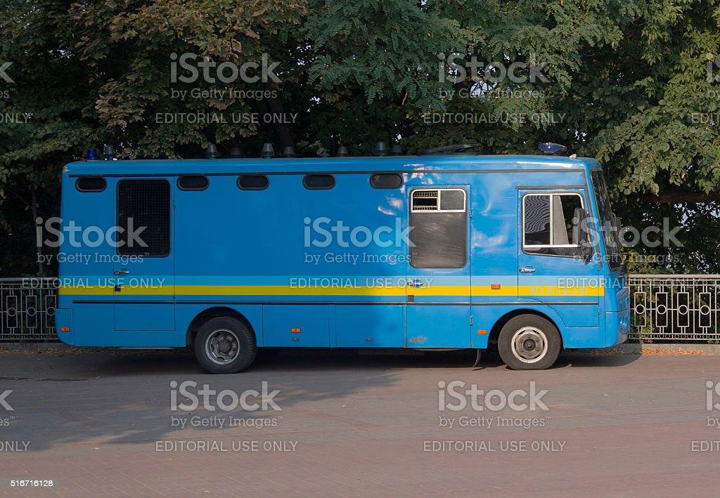 Special police bus. Kiev, Ukraine stock photo