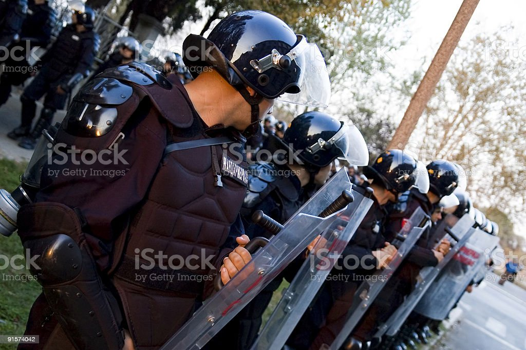 Special police forces with shield stock photo