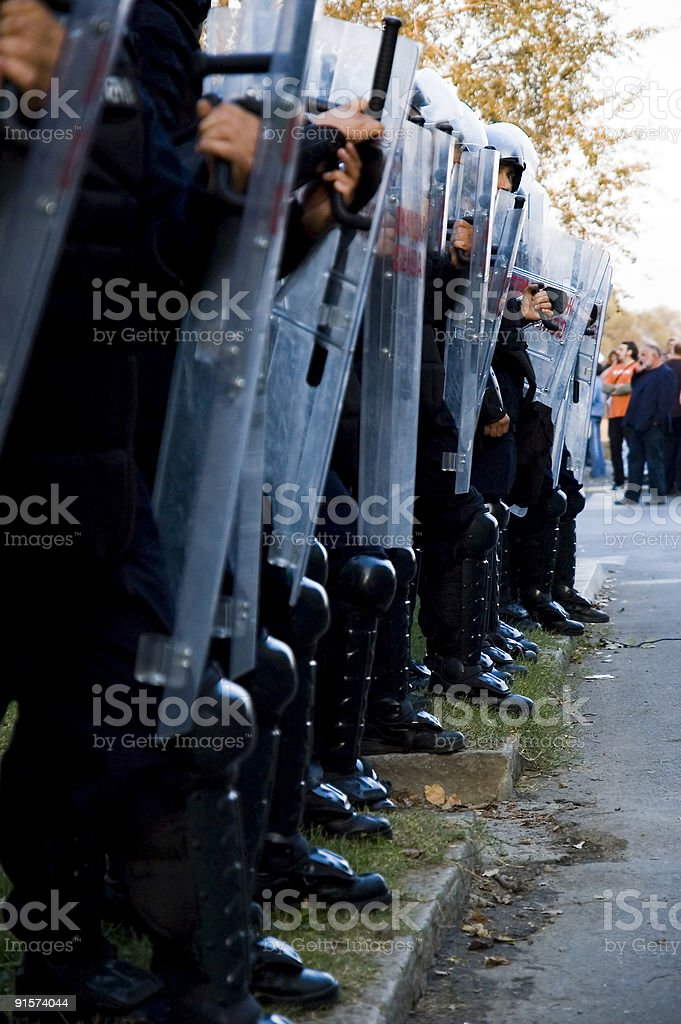 Special police forces with shield together stock photo