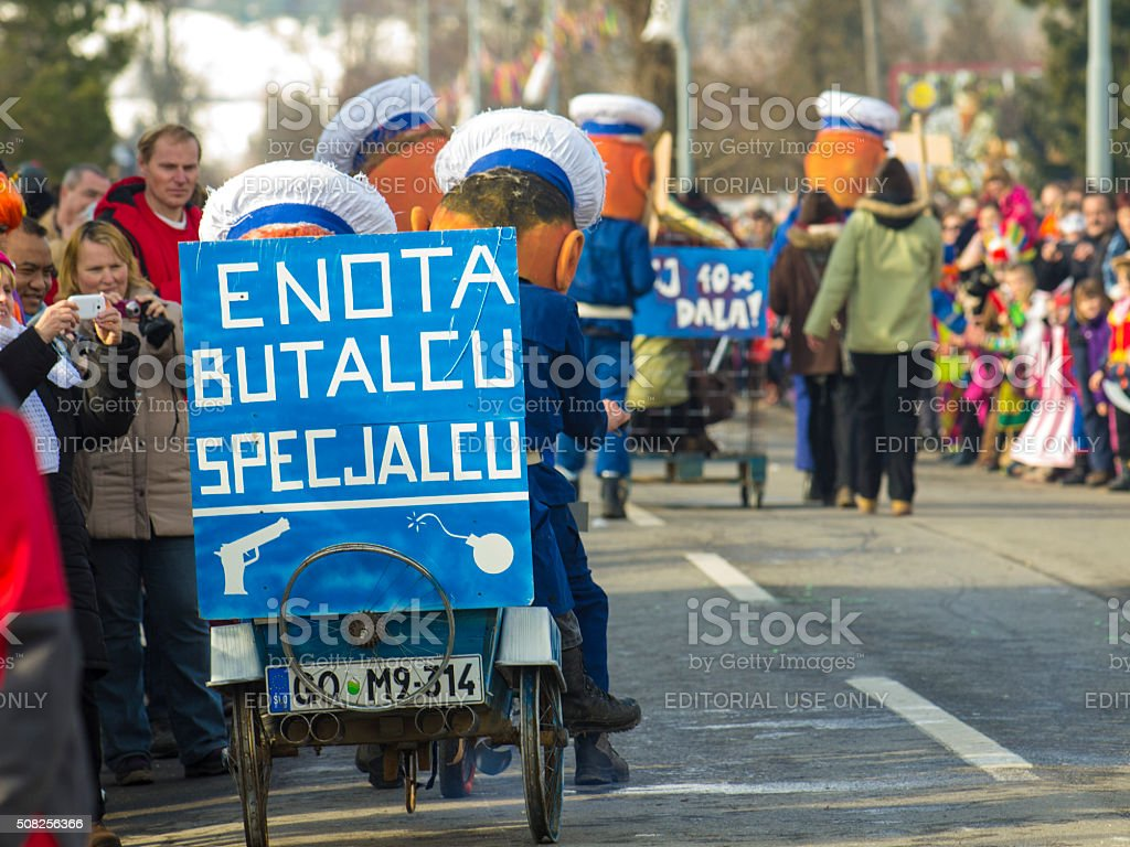Special police unit in action on Cerknica carnival, Slovenia. stock photo