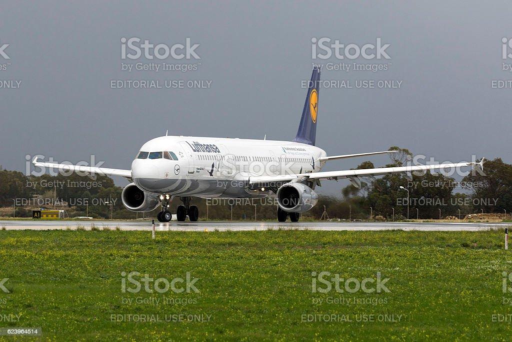 Special scheme Lufthansa Airbus stock photo