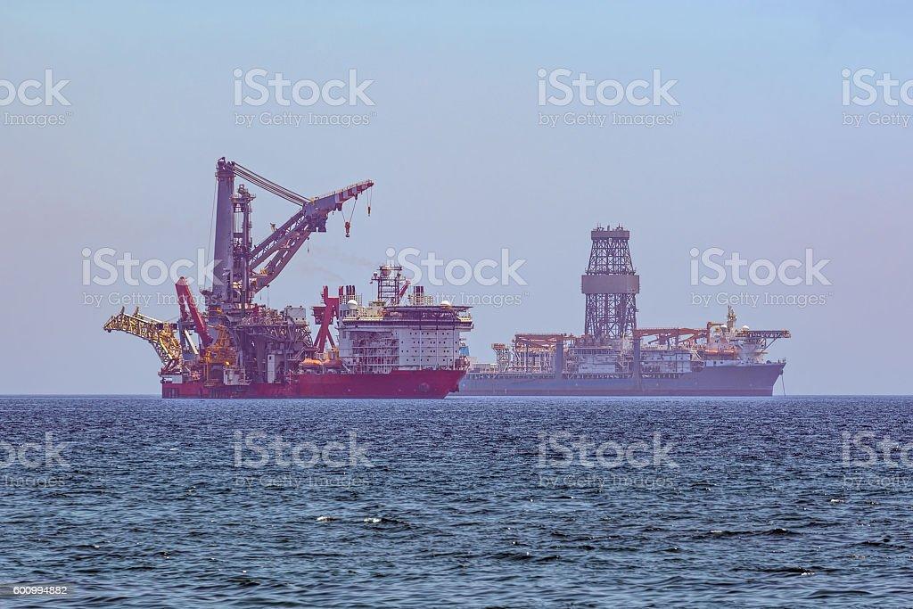 Special ships anchored near Limassol coast, Cyprus stock photo