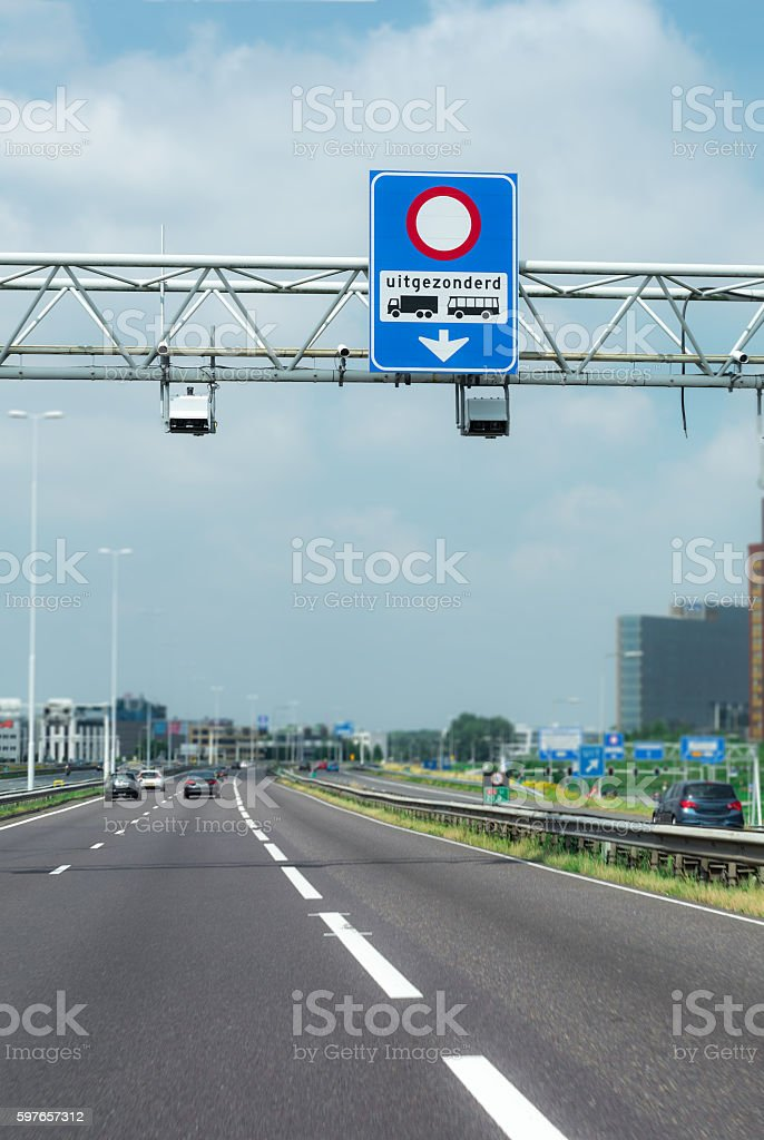 Special Truck lane and bus lane on the A16 Highway stock photo