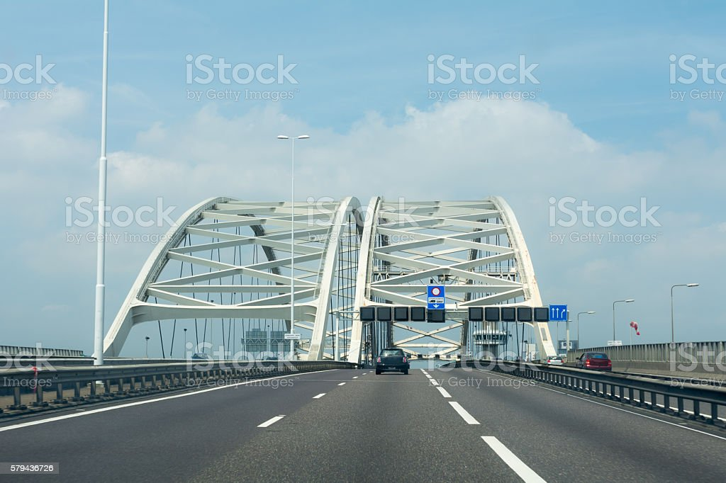 Special Trucklane on the A16 Highway on the Brienenoordbrug stock photo