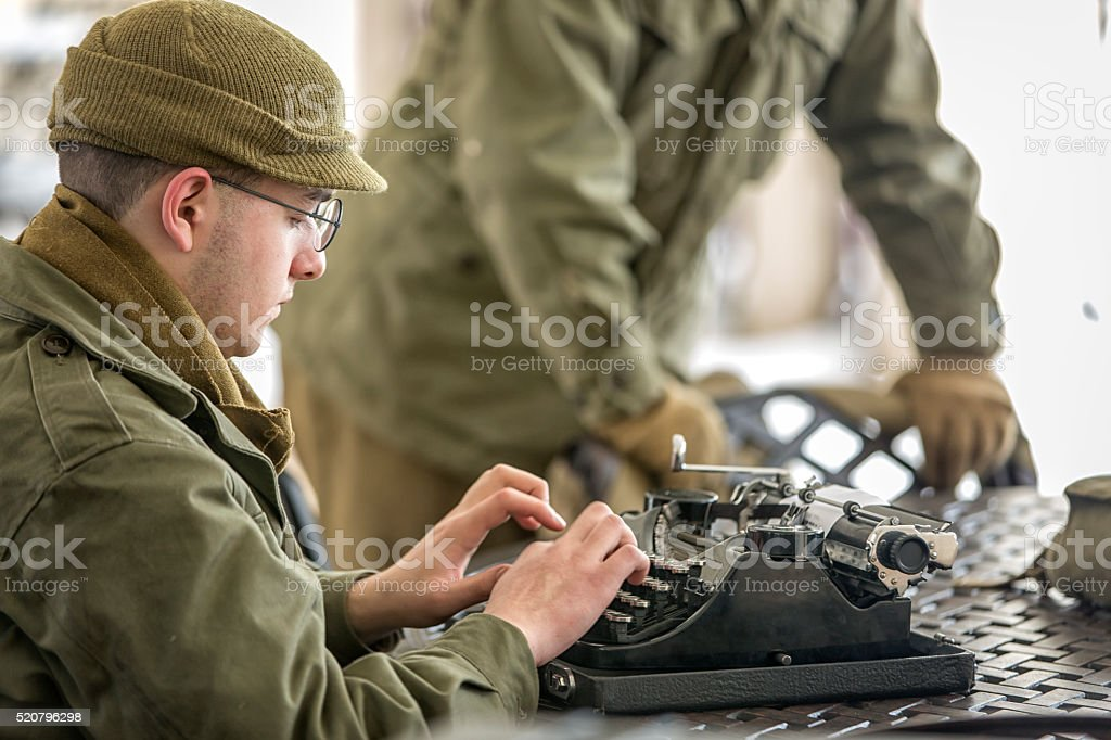 WW II: Specialist Typing a Report stock photo