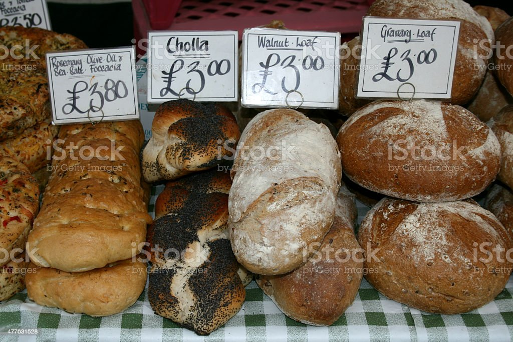 Speciality bread for sale, Market Place, Braintree, Essex, England stock photo