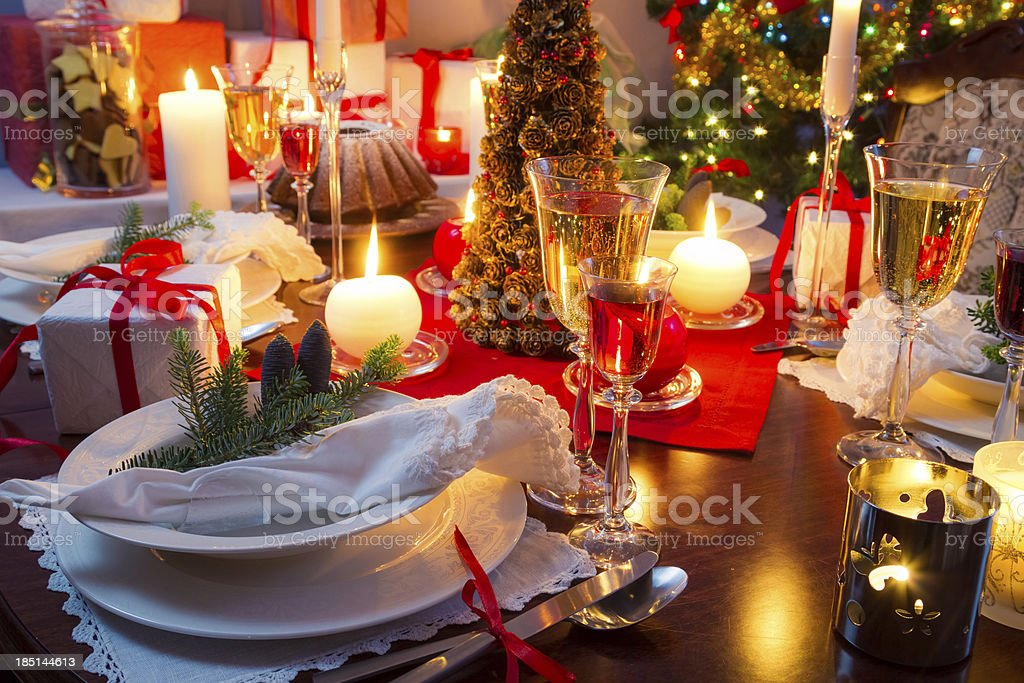 Specially decorated christmas table royalty-free stock photo