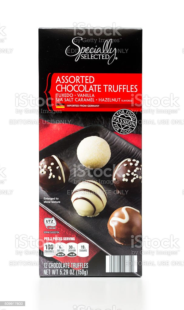 Specially Selected Assorted Chocolate Truffles box stock photo