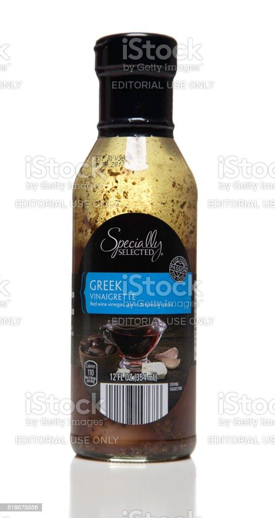 Specially Selected Greek Vinaigrette bottle stock photo