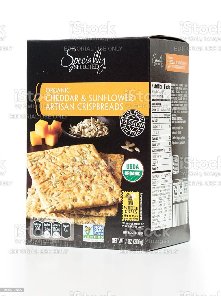 Specially Selected organic cheddar & sunflower artisan crispbrea stock photo