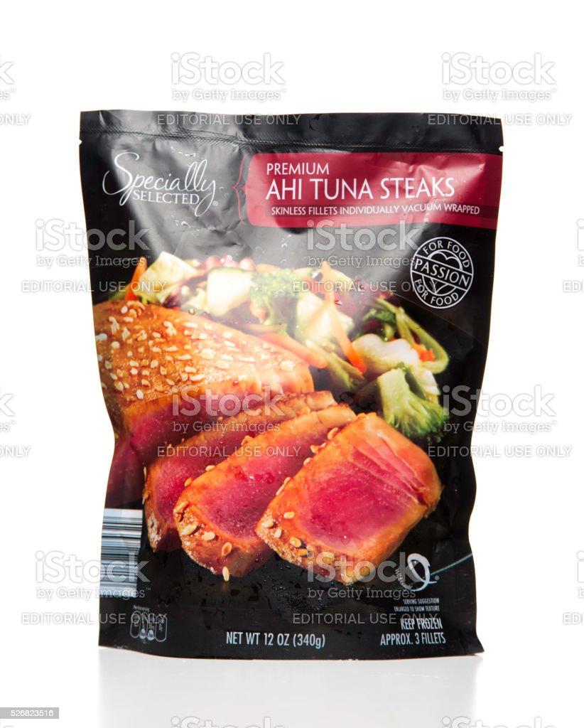 Specially Selected Premium Ahi Tuna steaks bag stock photo