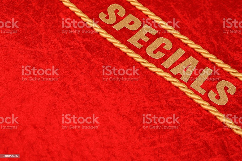 Specials - Gold Lettering on Luxurious Red Velvet. stock photo