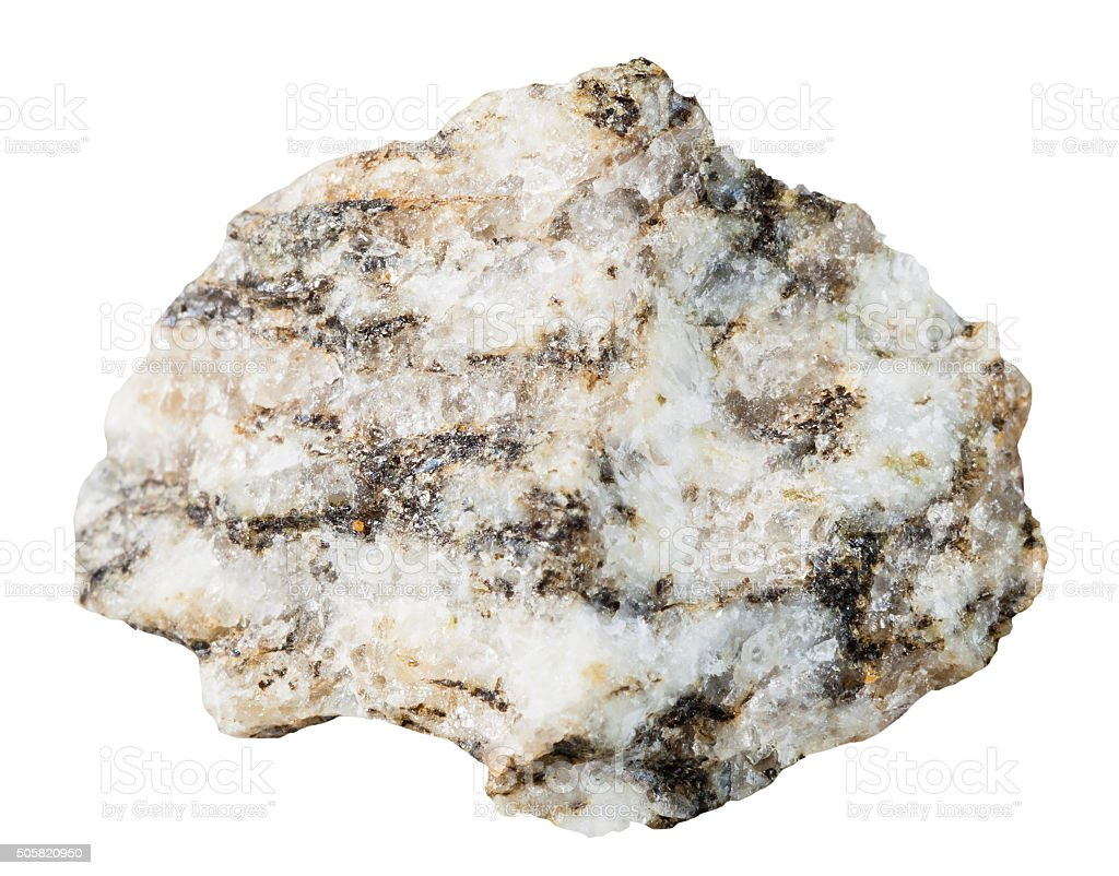 specimen of Gneiss mineral stone isolated stock photo